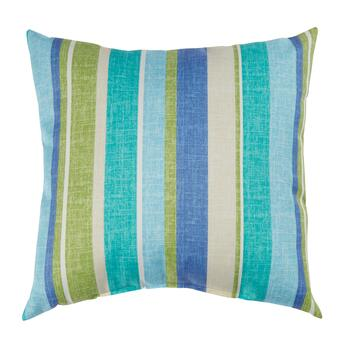 Green/Blue Striped Indoor/Outdoor Square Throw Pillow