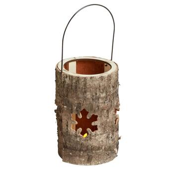 "7.25"" Birch Snowflake Cutout Flameless Candle Holder"