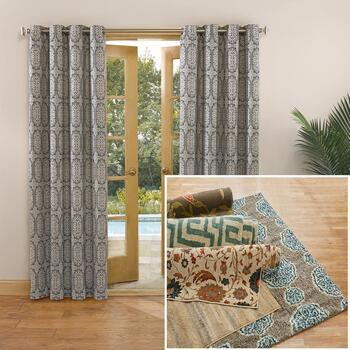 2-Pack Indoor/Outdoor Window Panels and 5'x7' Woven Rugs