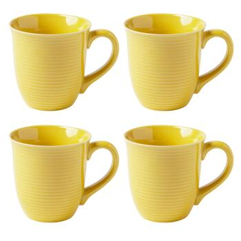 Bistro Basics Solid Yellow Mugs, Set of 4