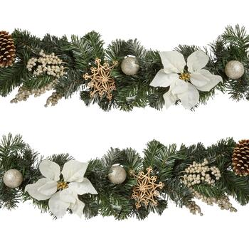 6' White Poinsettia and Berries Garland