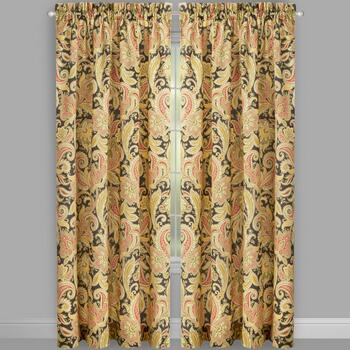 Traditions by Waverly® Black Rustic Floral Window Curtains, Set of 2 view 2