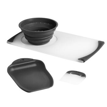 Dexas® Black Over-the-Sink Strainer Board Set, 3-Piece