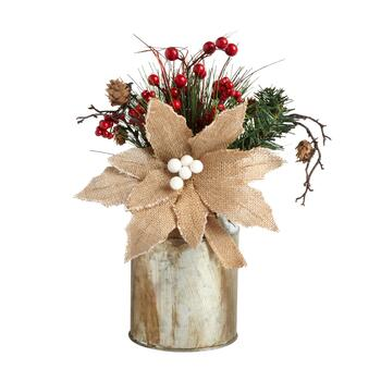 "The Grainhouse™ 13"" Burlap Poinsettia Flower Milk Can Decor"