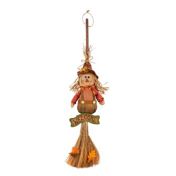 "41"" ""Welcome"" Scarecrow Boy Hanging Broom Decor"