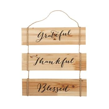 "15""x16"" ""Grateful, Thankful, Blessed"" Wood/Rope Plaque Wall Decor"