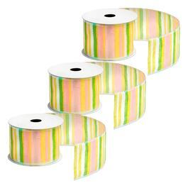 10-Yard Pastel Stripes Wired Ribbons, Set of 3