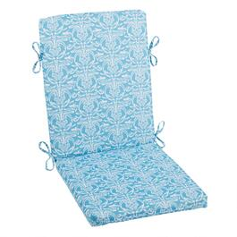 Vera® Blue Damask Indoor/Outdoor Hinged Chair Pad