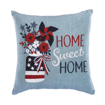 """Home Sweet Home"" USA Vase Tapestry Square Throw Pillow view 1"