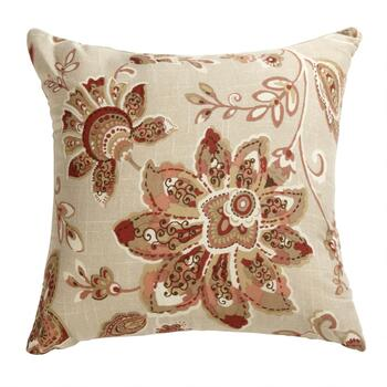 Paisley Blossoms Floral Square Pillow