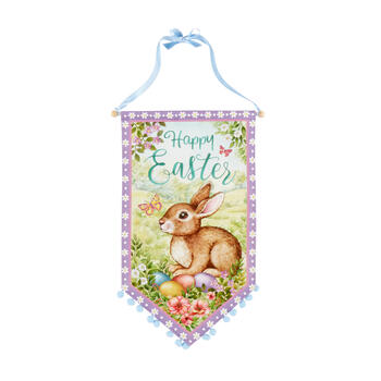 "27"" ""Happy Easter"" Bunny and Eggs Pom-Pom Banner view 1"