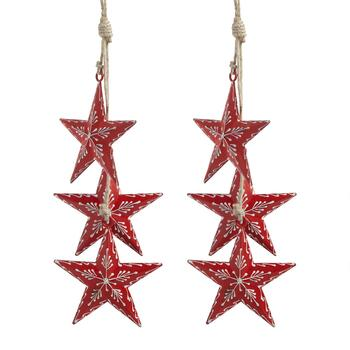 "15"" Red Metal Dangling Stars, Set of 2"