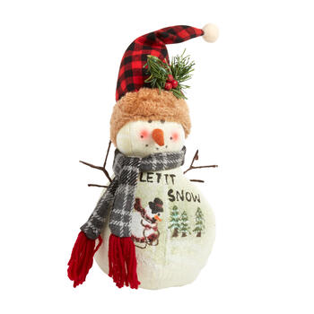 "11"" ""Let it Snow"" Checkered Hat Scenic Snowman Decor"
