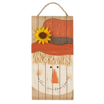 "16"" Scarecrow Wood Plank Wall Sign"