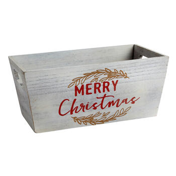 "Gray ""Merry Christmas"" Wood Storage Crate view 1"