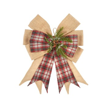 Grey Plaid and Burlap Embellished Bow
