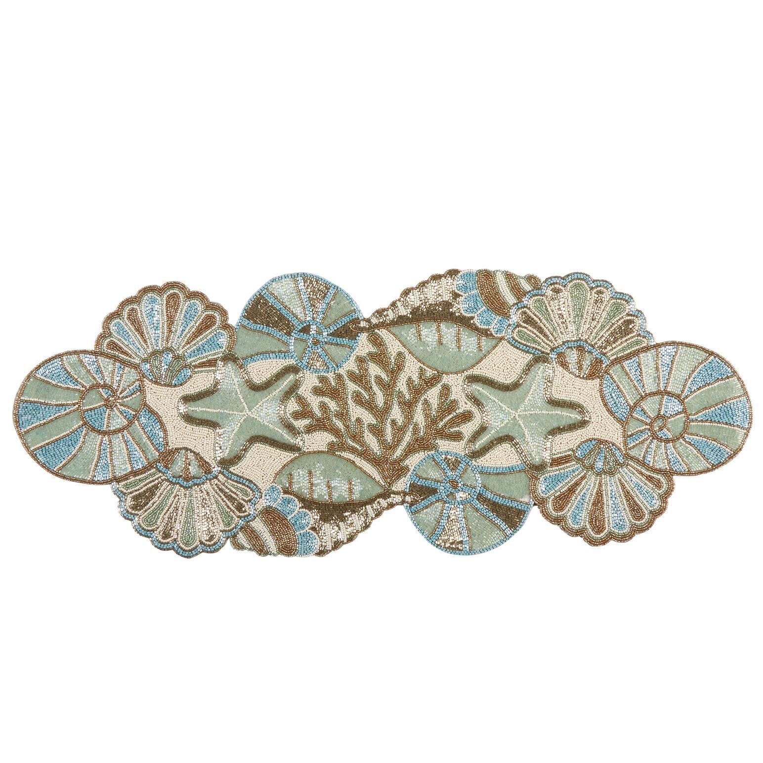 Set of 7 BlueTurquoise Crocheted Sea Shell Coasters