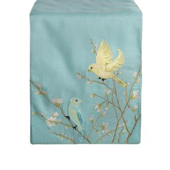 Spring Birds Embroidered Table Runner