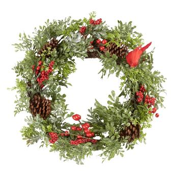 "20"" Boxwood Berry Holiday Wreath with Cardinal"