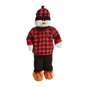 "28"" Red/Black Plaid Bundled Standing Snowman"