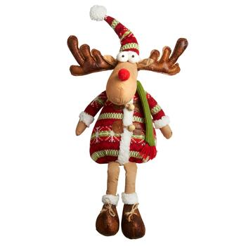 "19"" Sitting Reindeer Decor with Green Striped Hat"