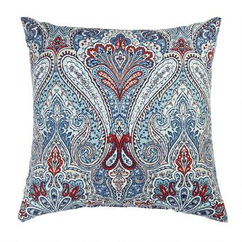 Paisley Blue Indoor/Outdoor Square Throw Pillow