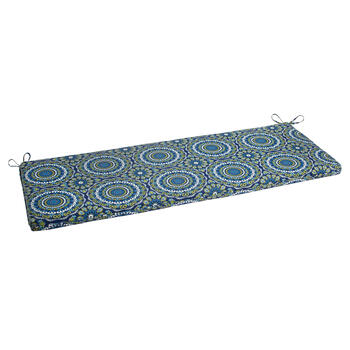 Blue/Green/White Medallion Indoor/Outdoor Bench Seat Pad view 1