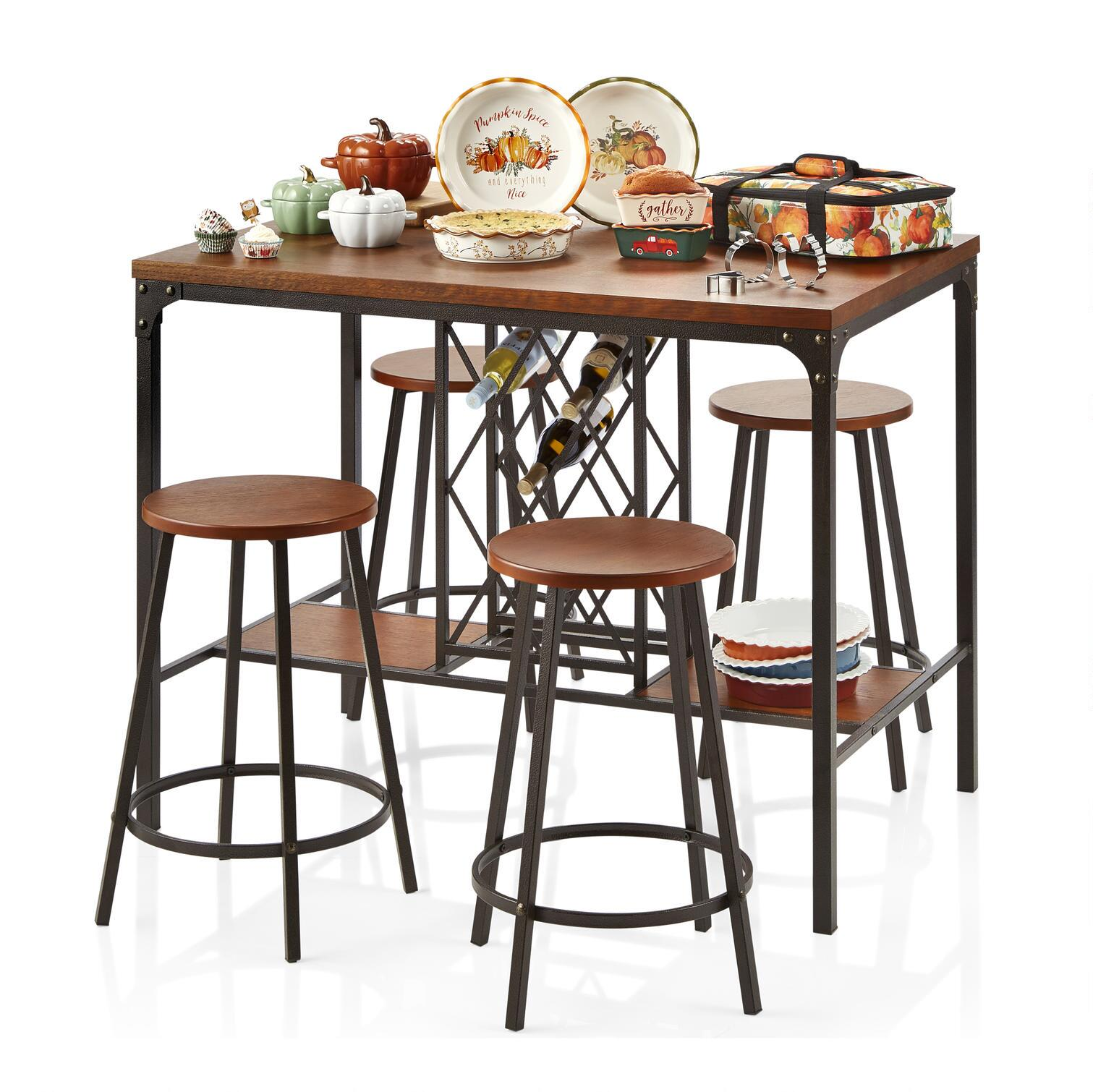 Attractive Metal/Wood Pub Dining Table And Chairs Set, 5 Piece