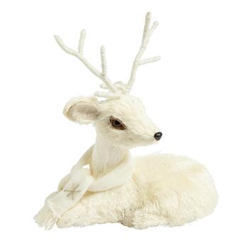 "15"" Lying Down White Reindeer Decor"