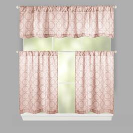 Floral Medallion Rod Pocket Cotton Window Tier & Valance Set