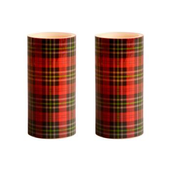 Red Plaid LED Pillar Candles, Set of 2
