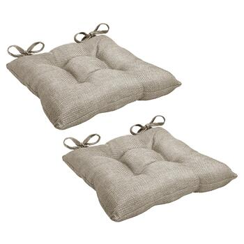 Solid Basketweave Tufted Chair Cushions, Set of 2