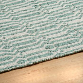 "21""x34"" Aqua Woven Dhurri All-Weather Accent Rug view 2"