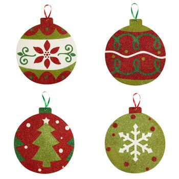 "11"" Oversized Glitter Wood Ornament Set"