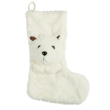 Furry Polar Bear Christmas Stocking