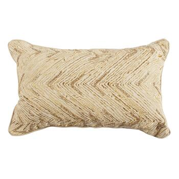 Gold Bead Chevron Embellished Oblong Throw Pillow
