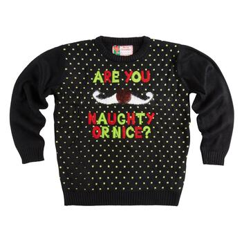 """Are You Naughty or Nice"" Ugly Christmas Sweater"