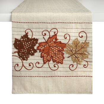 "72"" Cream Harvest Leaves Embellished Table Runner"