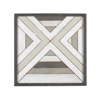 "The Grainhouse™ 24"" Gray/White Geometric Wood Square Wall Decor view 1"