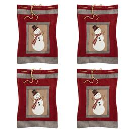 Red Plaid-Trimmed Snowman Gift Sacks, Set of 4