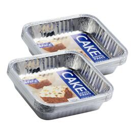 8-Pack Aluminum Square Cake Pans, Set of 2