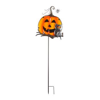 "36"" Fused Glass Top Hat Jack-O-Lantern Metal Yard Stake"
