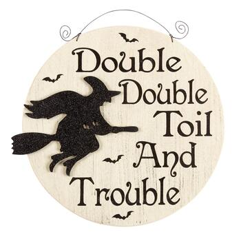 "15"" Cream Witch ""Double Double""  Wood Wall Sign"