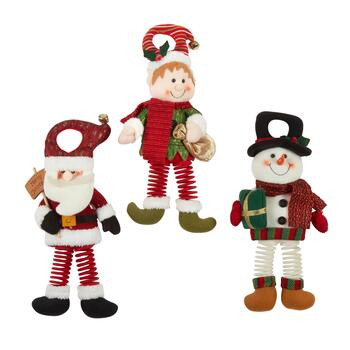 Santa, Elf and Snowman Bouncy Door Hangers, Set of 3