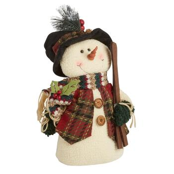 "15"" Plush Heavy Bottom Sitting Snowman with Skis"