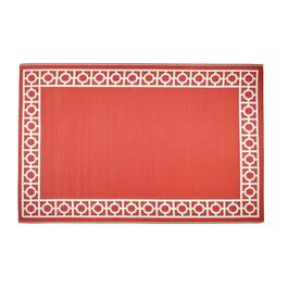 4'x6' Coral/White Geometric Border All-Weather Reversible Patio Mat