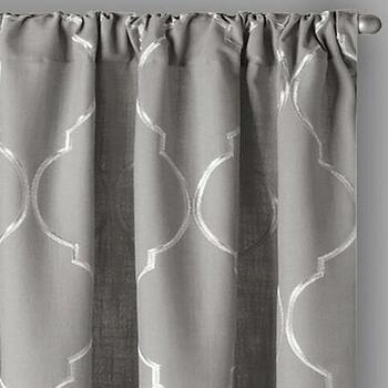 "84"" Lexi Ogee Embroidered Window Curtains, Set of 2"