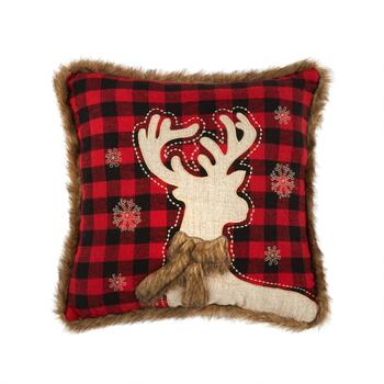 Red Plaid Reindeer Embellished Square Throw Pillow
