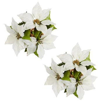 White Poinsettias Centerpieces, Set of 2