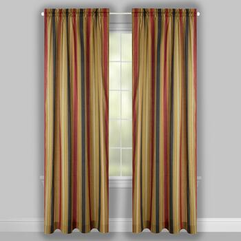 "Traditions by Waverly® 84"" Crimson Stripes Rod Pocket Window Curtains, Set of 2 view 2"
